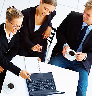 Three People Working Online